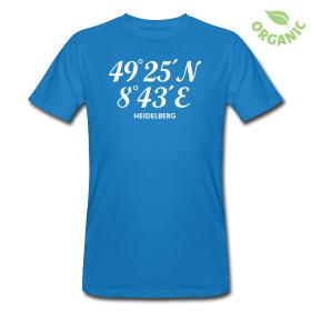 T-Shirt mit dem Längen- und Breitengrad von Heidelberg