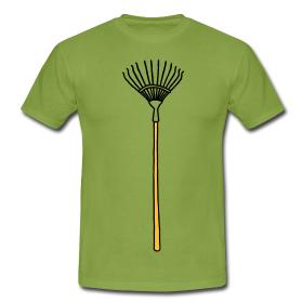 Garten T-Shirt mit aufgedrucktem Laubrechen