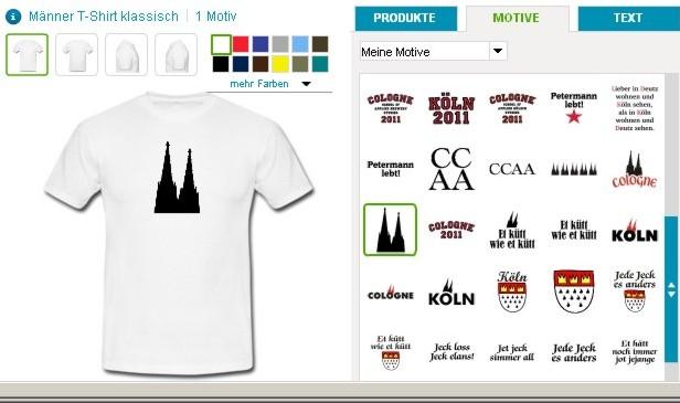 Köln T-Shirts einfach selbst gestalten!