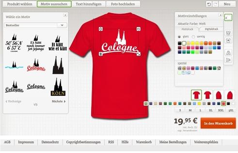 Köln T-Shirts selbst gestalten
