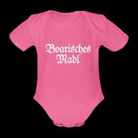 Boarisches Madel Bayern Babybody Pink Weiß