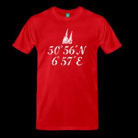 Köln T-Shirts mit dem Längengrad und Breitengrad des Kölner Doms